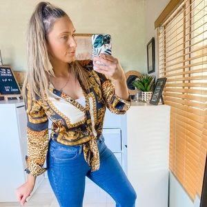 CBR Cheetah Animal Print Front Tie Blouse Small